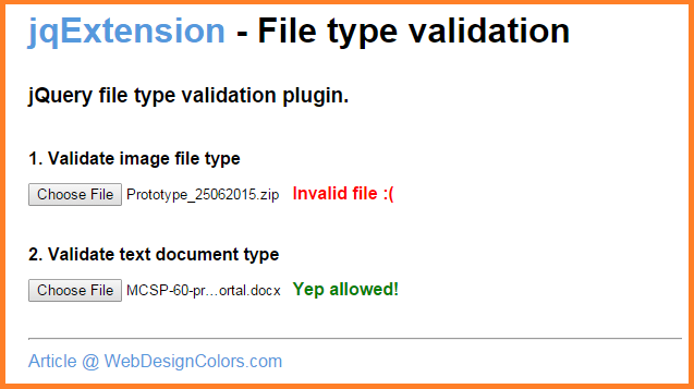 jqExtension - jQuery file type validation